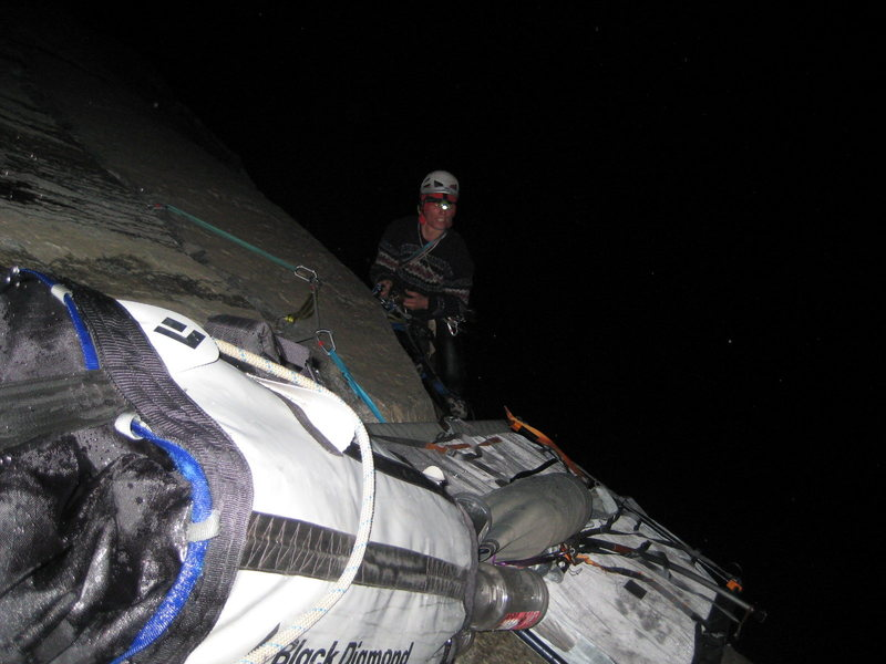 Rock Climbing Photo: Ryan cleaning the twelfth pitch, our third night o...