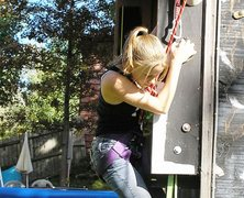Rock Climbing Photo: Anya making her move on outside wall.