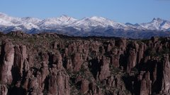 Rock Climbing Photo: LDE with snow capped Pinal Mtns in the background ...