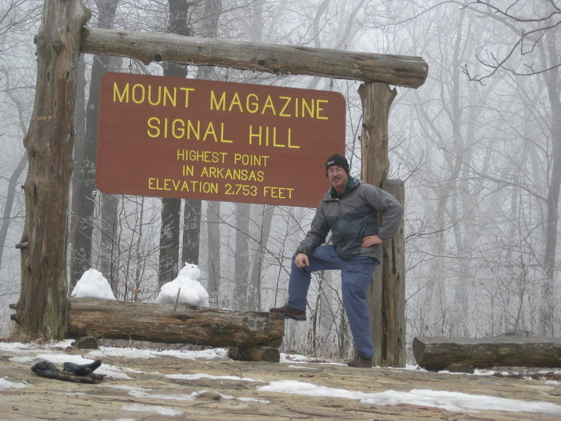 Highpoint of Arkansas.  At 2,753 feet above sea level, Mt Magazine is almost 3,000 feet lower than my back deck in Colorado.