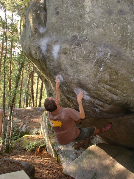 Rock Climbing Photo: This is el Poussah, a classic 7a in the Franchard ...