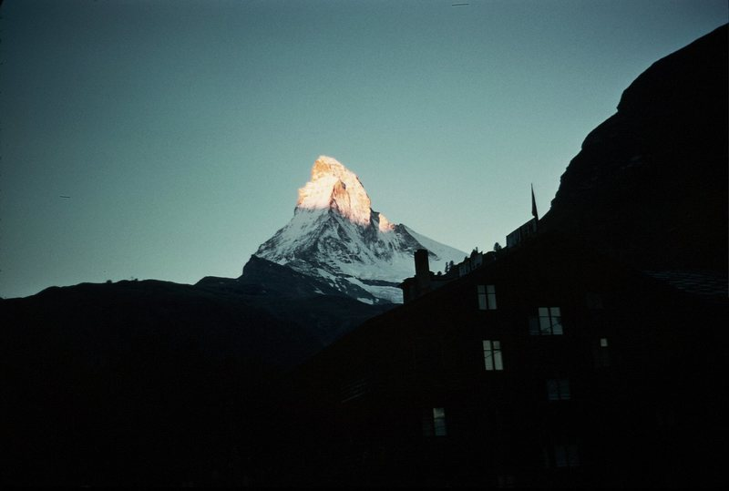 1950's Sunrise on the Matterhorn from town