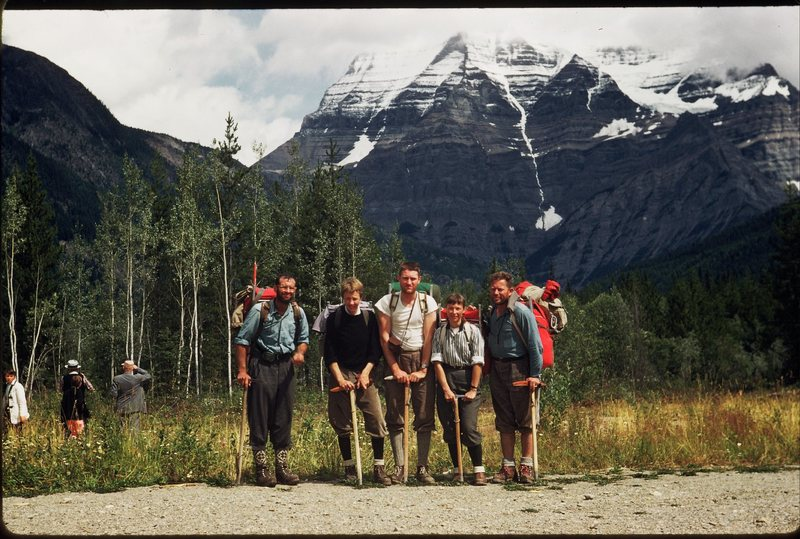 Rock Climbing Photo: 1950's Mt. Robson ascent team. From left to right:...