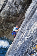 Rock Climbing Photo: John leading up Quay Hole Corner