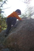 Rock Climbing Photo: Dagan on a slab problem. This was just before he t...