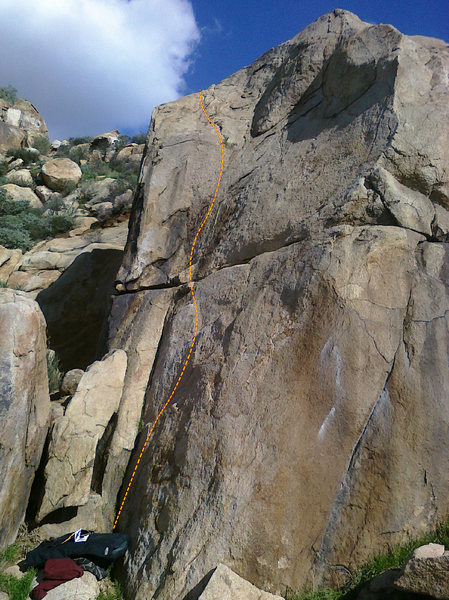 Cable route, on Half Dome Boulder, just around the corner to the right of the cracks.