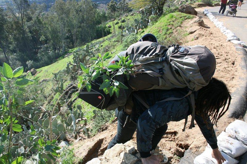 Rock Climbing Photo: RastaRaj taking the hard way. 2-7-10