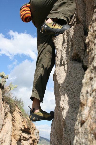 Me on the north end roadside boulders, well my feet again. 2-7-10