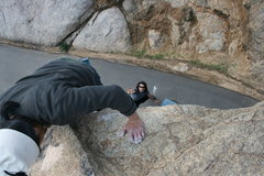 Rock Climbing Photo: Albert on the north end roadside boulders topping ...