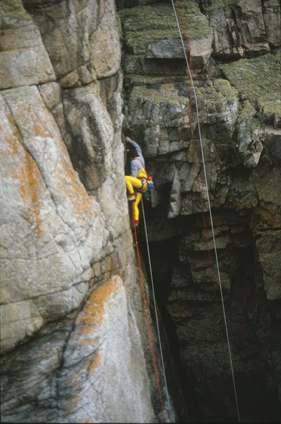 Rock Climbing Photo: Moving up to the overhang on the FA of Built To De...