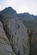 Rock Climbing Photo: The short rappel on the descent to the bottom of t...