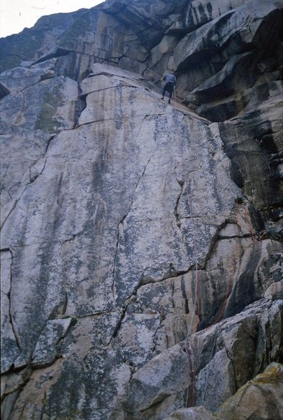 Robin rappels down I Scream (5.13a R). Roadrunner takes the obvious left crack up into the niche.