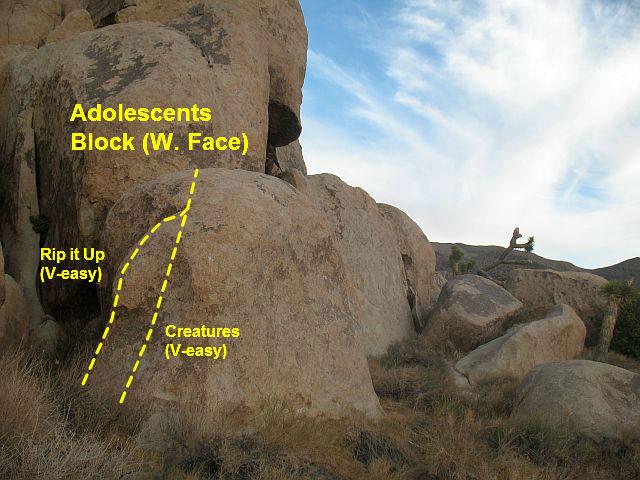 Rock Climbing Photo: Photo/topo for Adolescents Block (W. Face), Joshua...