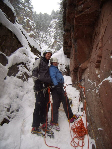 Jenna and I atop the Avocado Gully, Redstone Colorado.  Feb 7th 2010.