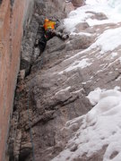 Rock Climbing Photo: Working onto thin ice with excellent rock gear in ...