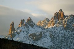 Rock Climbing Photo: Tooele Tower early morning winter sun.