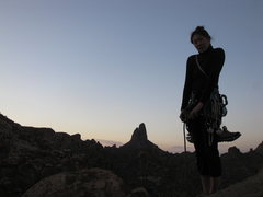 """Rock Climbing Photo: Jamee at the top of the climb """"Stroke it Gent..."""