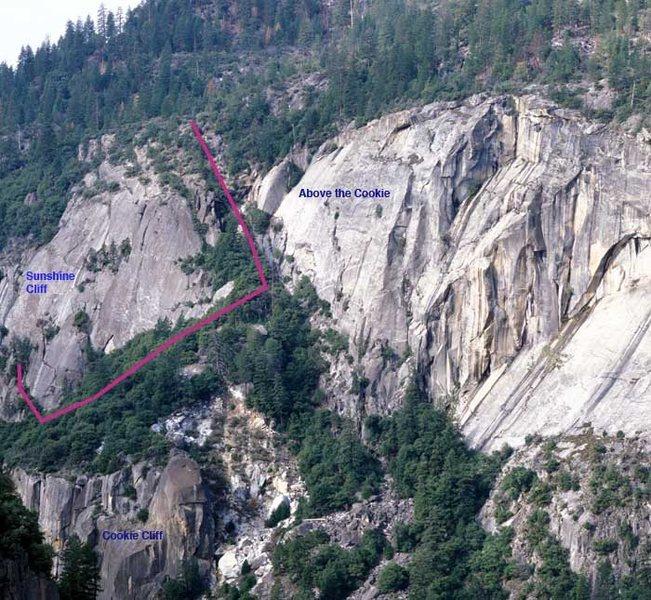 Approach photo from Clint Cummings Yosemite web sight: http://home.comcast.net/~e.hartouni/img/Sunshine_Cliff.jpg