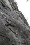 Rock Climbing Photo: Traverse on Pitch 2.  Our party skipped belay 1 so...