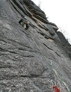 Rock Climbing Photo: Leading up Pitch 3 after the traverse.