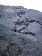 Rock Climbing Photo: Doug leading up the first pitch of North Face Cent...
