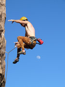 Rock Climbing Photo: Logging some air at the crux.    Note:  This is no...