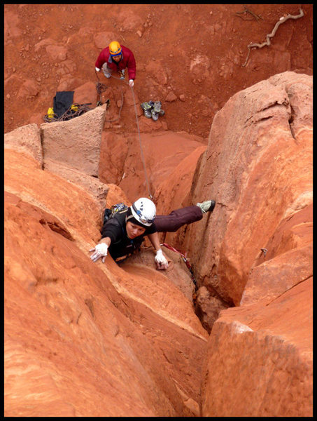 Kam on the first pitch of Dr. Rubos Wild Ride in Sedona, AZ.
