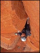 Rock Climbing Photo: Kam links the first 2 pitches of Dr. Rubos Wild Ri...