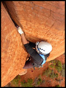 Rock Climbing Photo: Kam gets a nice fist jam while linking the first 2...