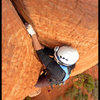 Kam gets a nice fist jam while linking the first 2 pitches of Dr. Rubo's Wild Ride in Sedona, AZ.