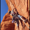 Cody Lane starts up the awesome overhanging splitter on the second pitch of The Fisher King in Sedona, AZ.
