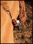 Rock Climbing Photo: Tricia pulls the lip of the overhanging crack on t...