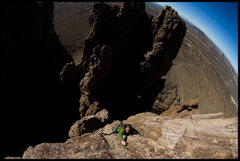 Rock Climbing Photo: Leading the last pitch of Grandfather Hobgoblin, a...