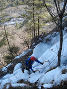 Rock Climbing Photo: Will Trumper coming up to the top in fairly dry co...