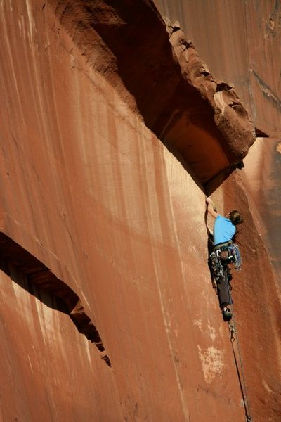 Lizzy gets ready to turn the roof and enter the crux on Way of the Gun.