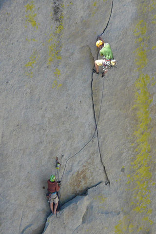 Rock Climbing Photo: Luke leads and Lizzy belays on the crux pitche of ...