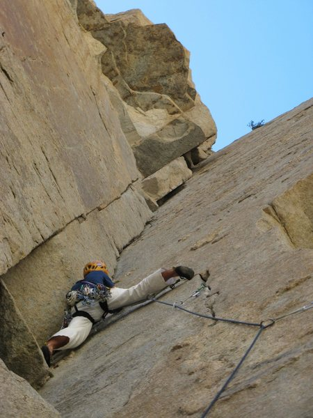 Rock Climbing Photo: Robb works through the first crux of Sheila.