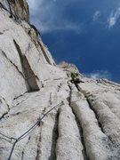 Rock Climbing Photo: Luke enjoys the amazing alpine granite on one of t...