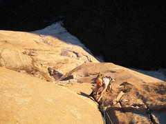 Rock Climbing Photo: Luke is psyched to finish an amazing pitch of face...