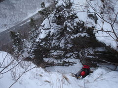 Rock Climbing Photo: Bruce coming through the Mixed section of Lower Hi...