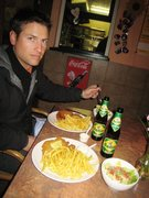 Rock Climbing Photo: Wiener Schnitzel, chips and a beer.  Not a bad end...