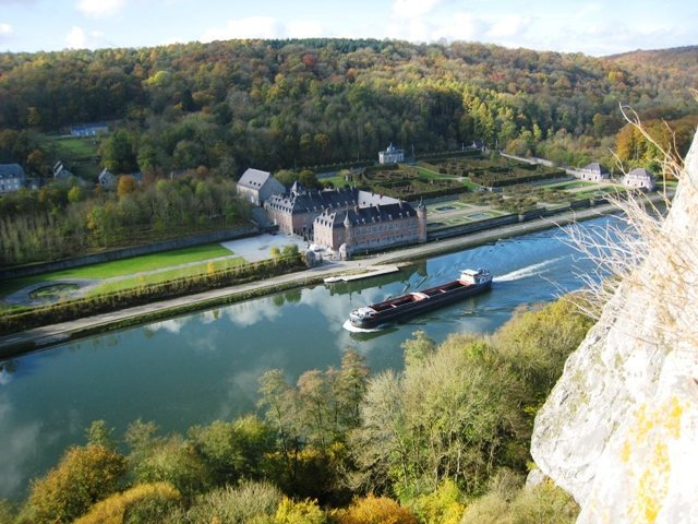 Barge on the Meuse River in front of the Château de Freÿr (from Rocher de Freÿr)