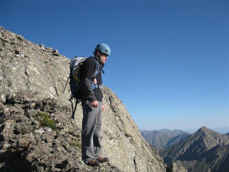 Looking down the Class 4+ ridge I just climbed on Kit Carson. Climbed Aug 1, 2009