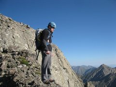 Rock Climbing Photo: Looking down the Class 4+ ridge I just climbed on ...