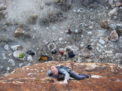 Rock Climbing Photo: Mike working out the beta on the .12b? at the Corr...
