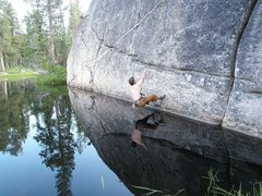 Rock Climbing Photo: Me, almost in the lake, thankful for the toprope