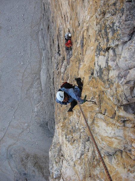 Shirley following pitch 7 of Comici on the north face of Cima Grande in Aug. of 2008.