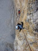 Rock Climbing Photo: Shirley following pitch 7 of Comici on the north f...