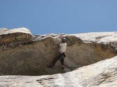 "Rock Climbing Photo: Scott leading the Hoodwink roof.  He is 6'2"" ..."