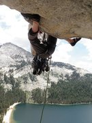 Rock Climbing Photo: Scott seconding the hoodwink roof from the belay d...